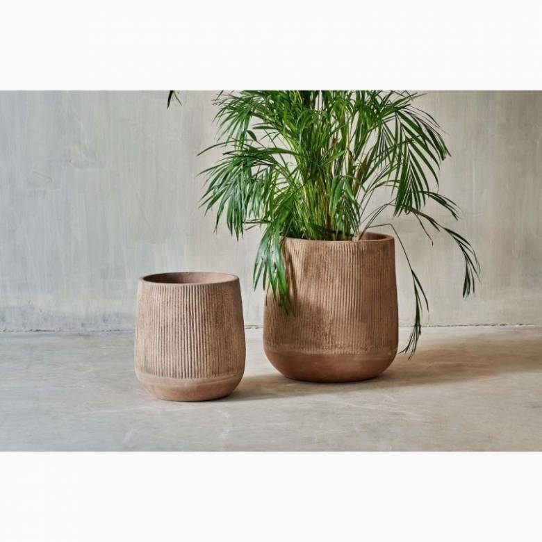 Large Tall Planter In Distressed Terracotta H: 50cm