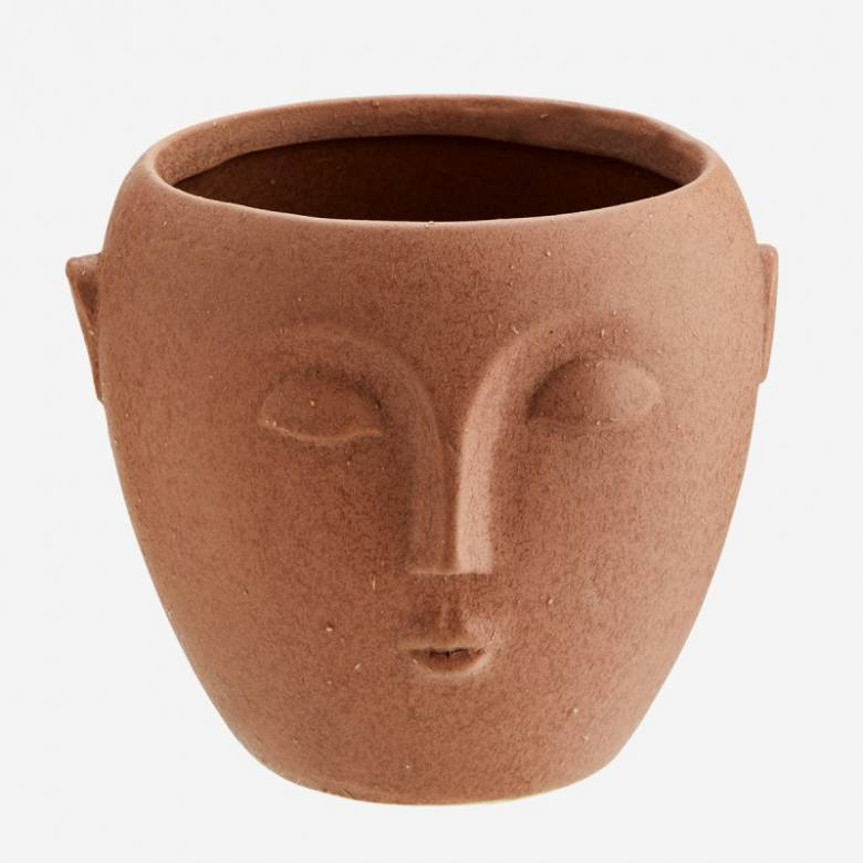 Small Terracota Flower Pot With Face Imprint