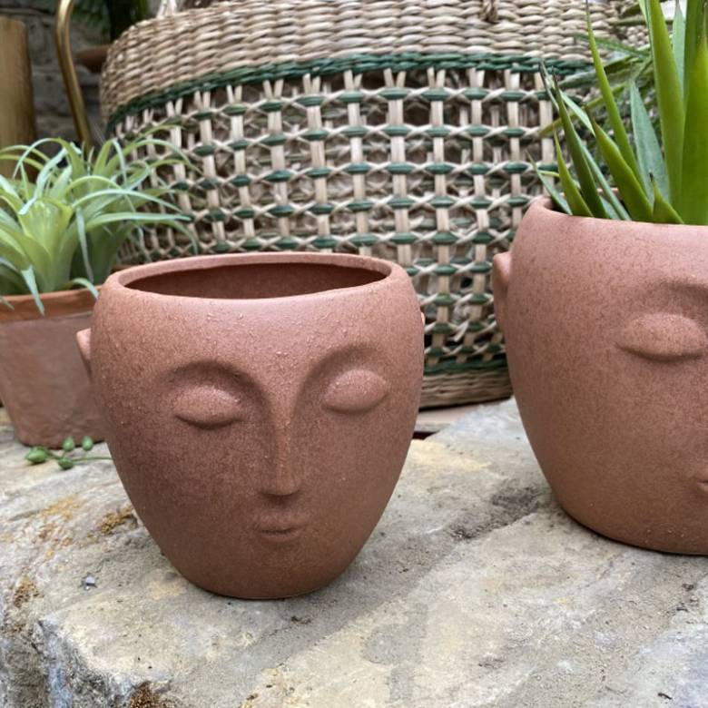 Small Terracotta Flower Pot With Face Imprint