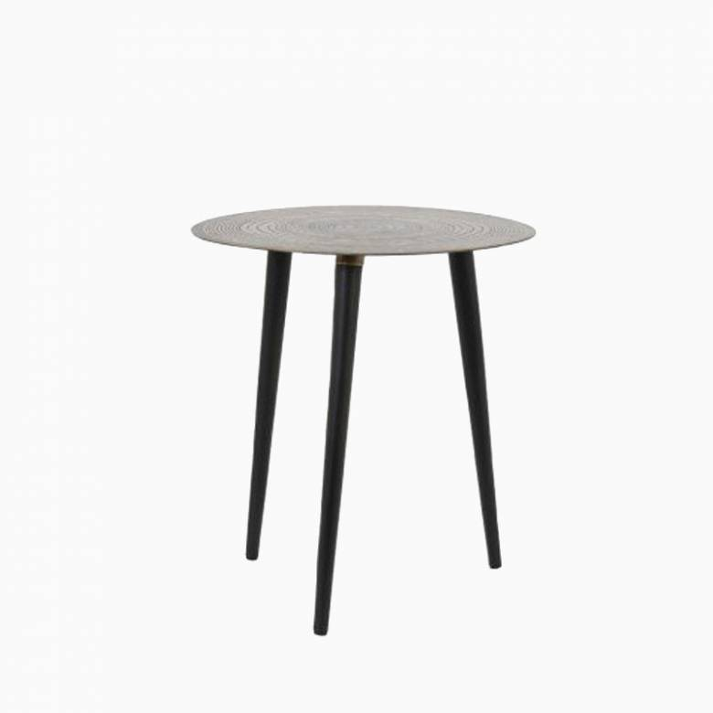 Small Trunk Round Metal Side Table In Bronze 40x43cm
