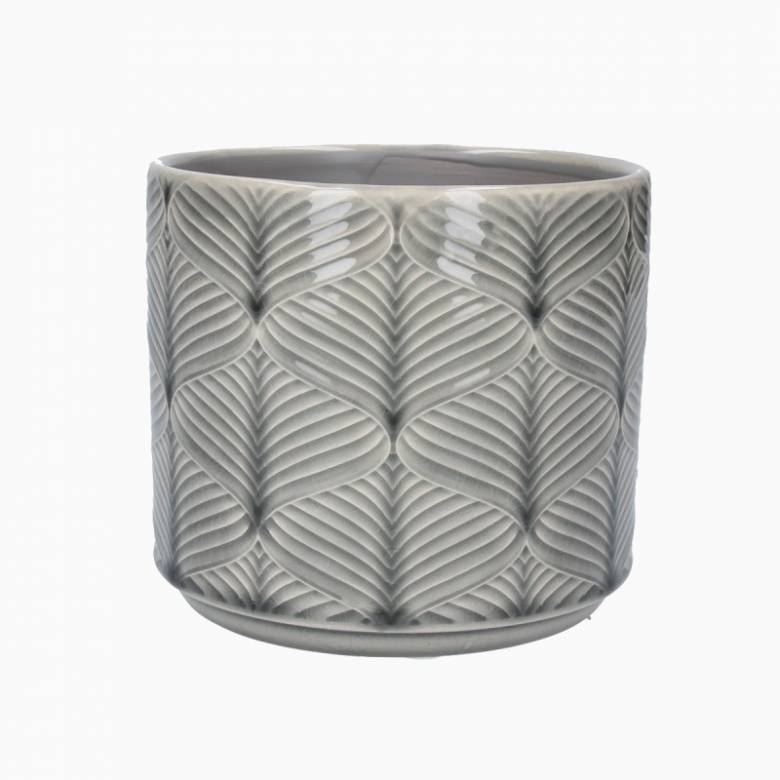 Small Wavy Ceramic Flower Pot Cover In Grey