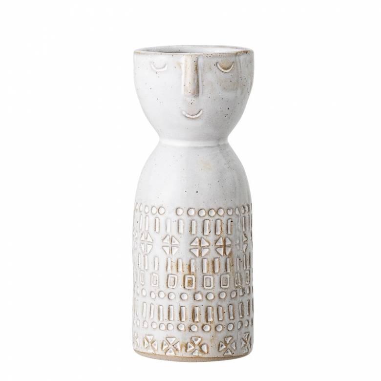 Small White Embossed Face Print Vase H:14.5cm