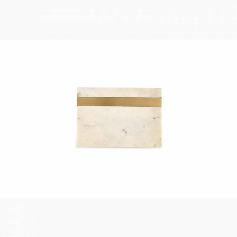 Small White Rectangular Marble Board With Brass Band