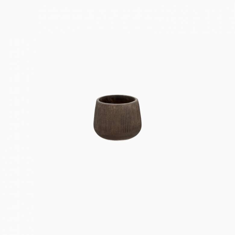 Small Wide Planter In Distressed Brown H: 15.5cm