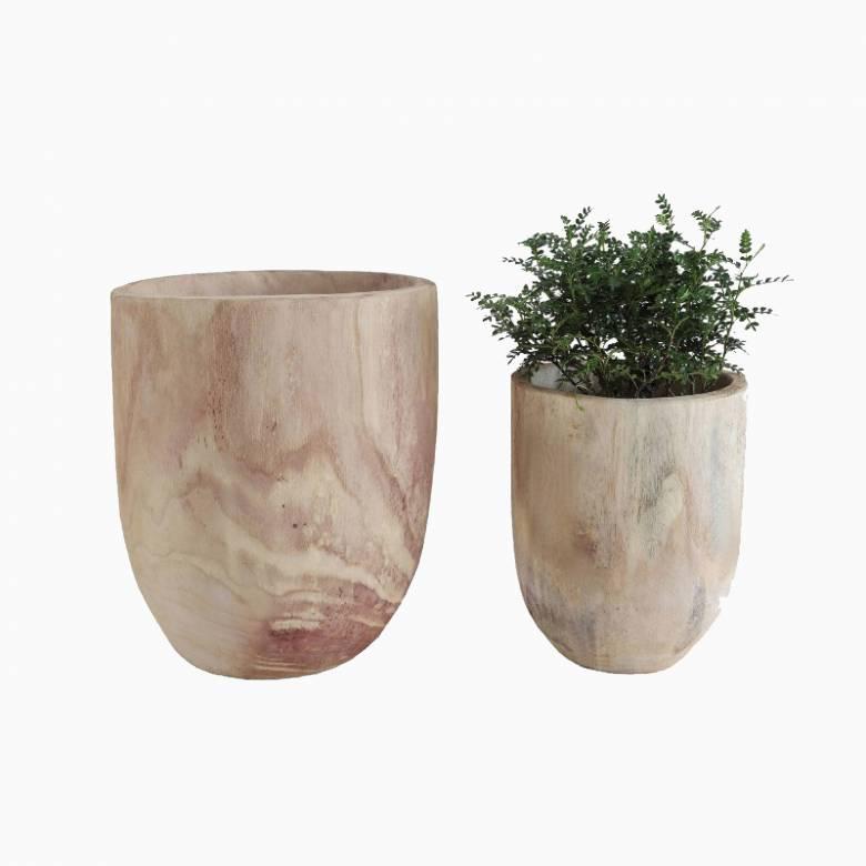 Large Wooden Carved Trunk Planter Pot