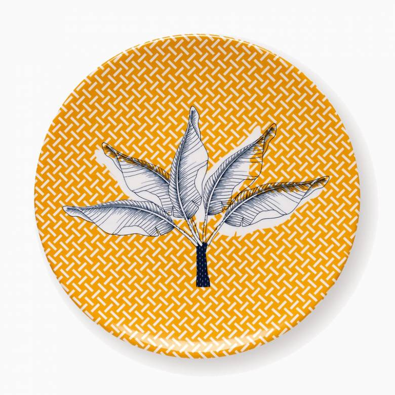 Small Yellow Melamine Plate With Plant And Geometric Pattern
