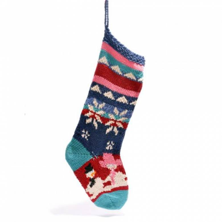 Snowmen Knitted Christmas Stocking