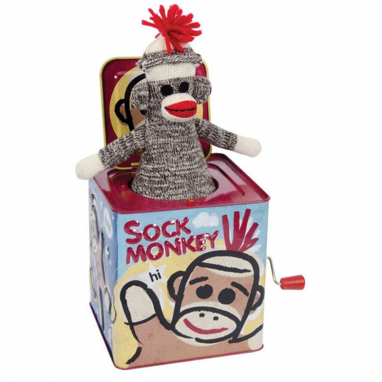 Sock Monkey Jack In The Box Tin Musical Toy 18m+