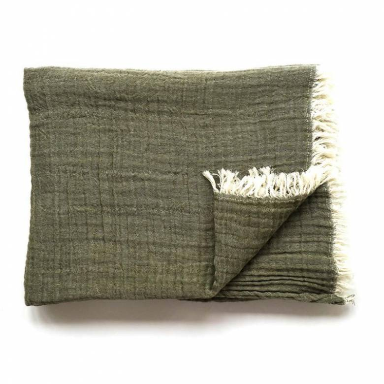 Soft Cotton Throw In Khaki Green