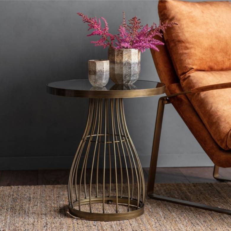 South Table Bronze Wire With Black Glass Top