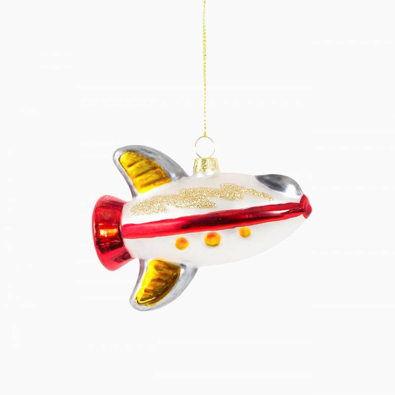 Spaceship Glass Christmas Decoration