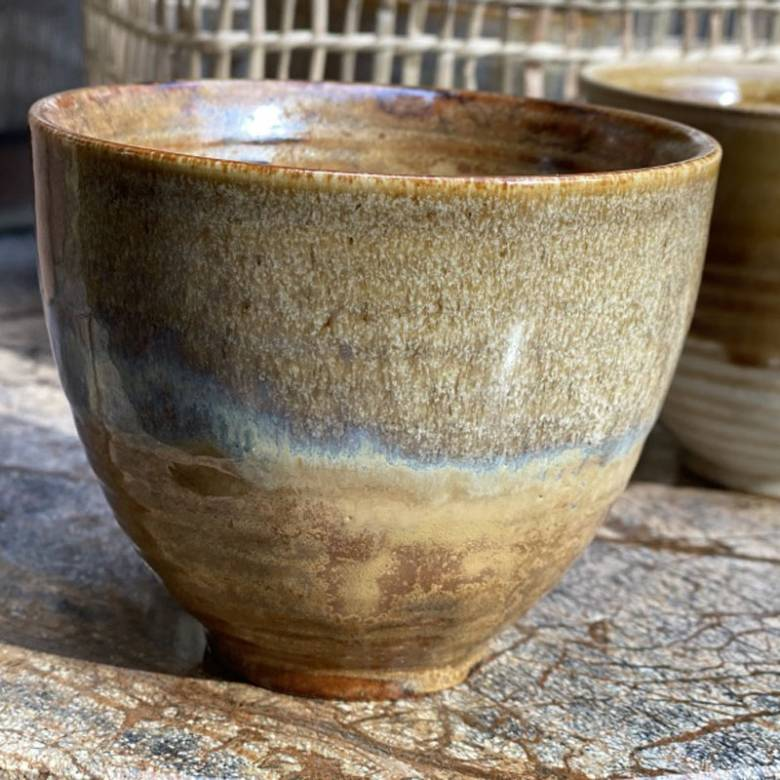 Large Brown Speckled Stoneware Cup With Iridescent Glaze