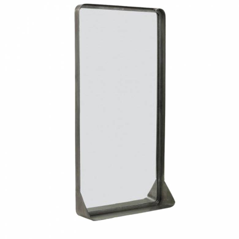 Pausi Rectangular Zinc Mirror With Shelf