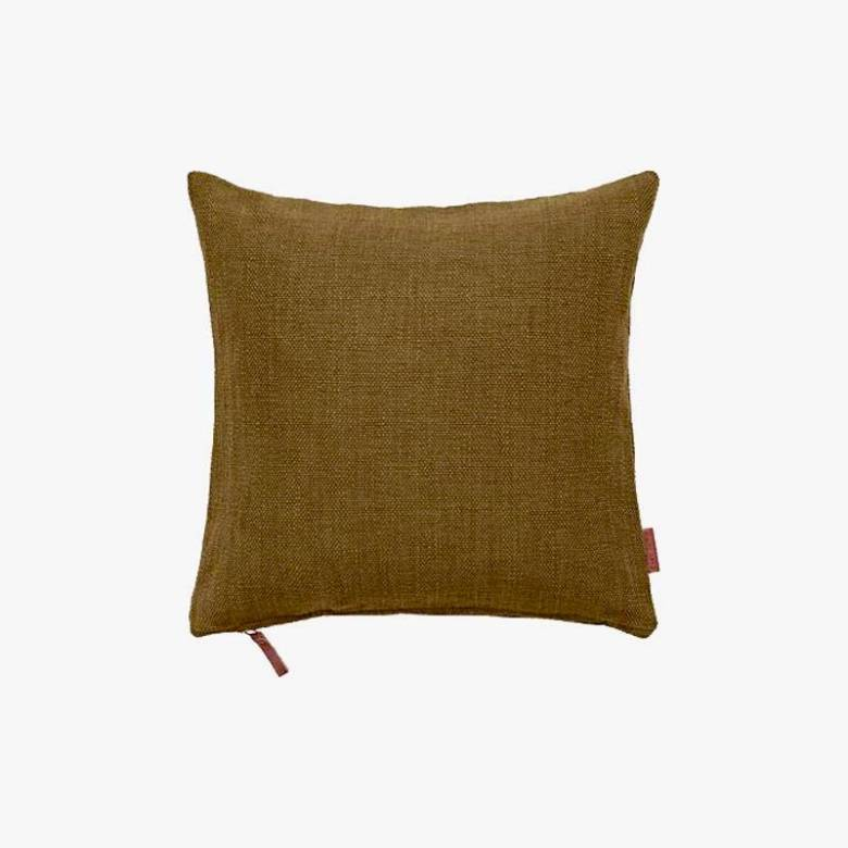 Square Heavy Cotton Cushion In Mustard