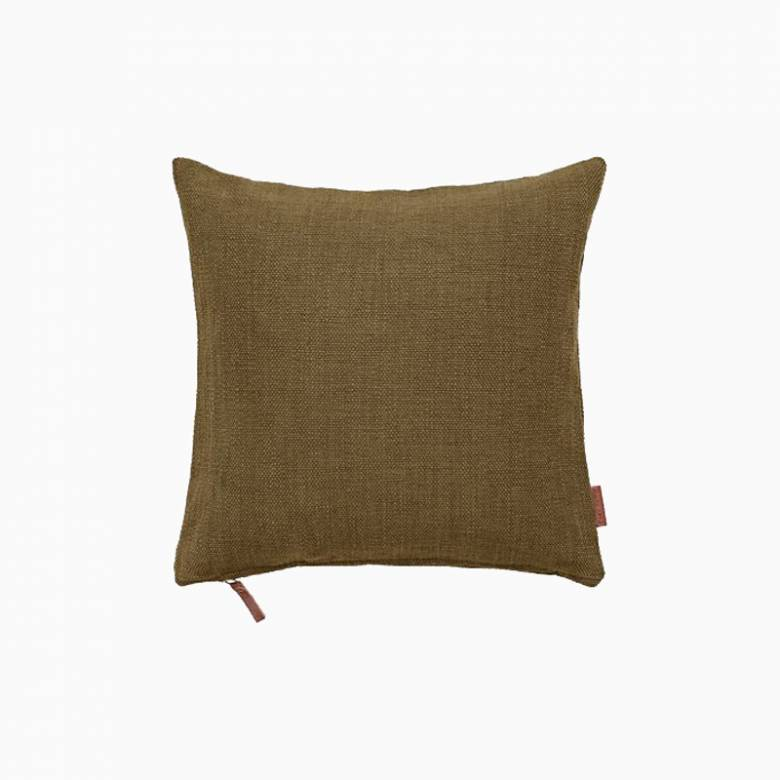 Square Heavy Cotton Cushion In Mustard