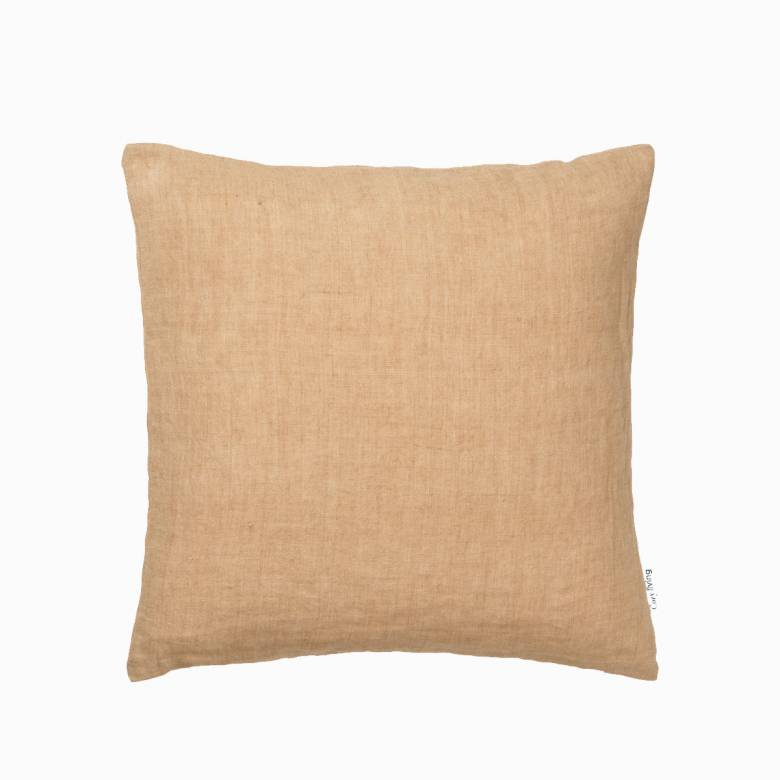 Square Linen Cushion In Caramel