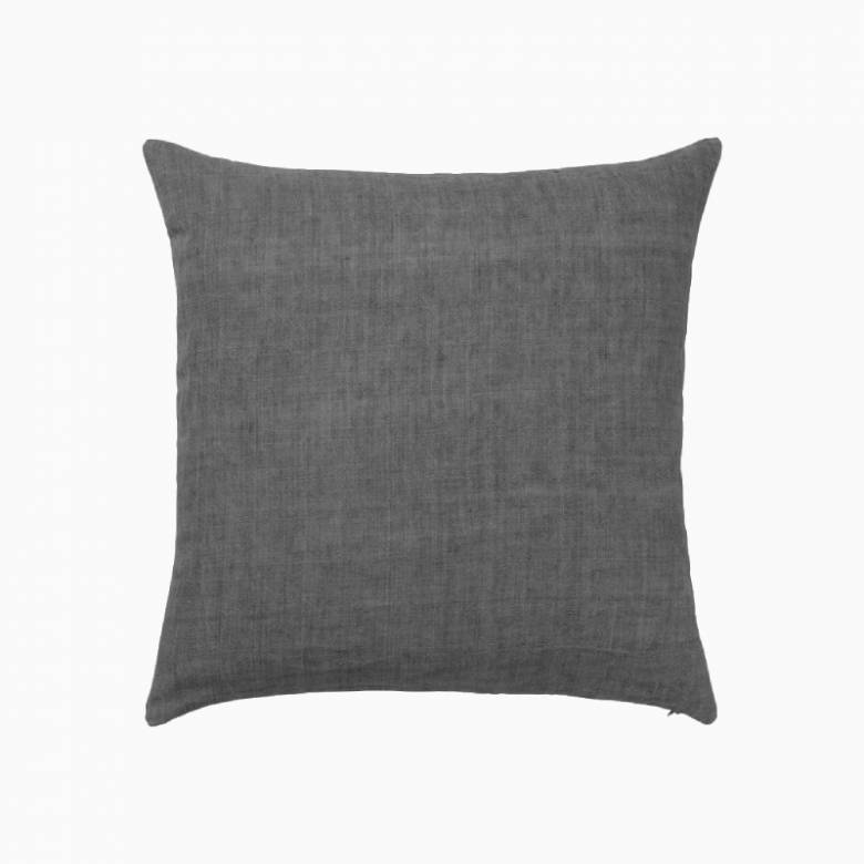 Square Linen Cushion In Charcoal