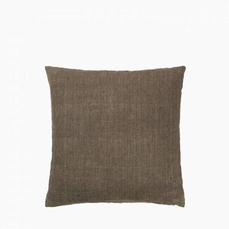 Square Linen Cushion In Chesnut