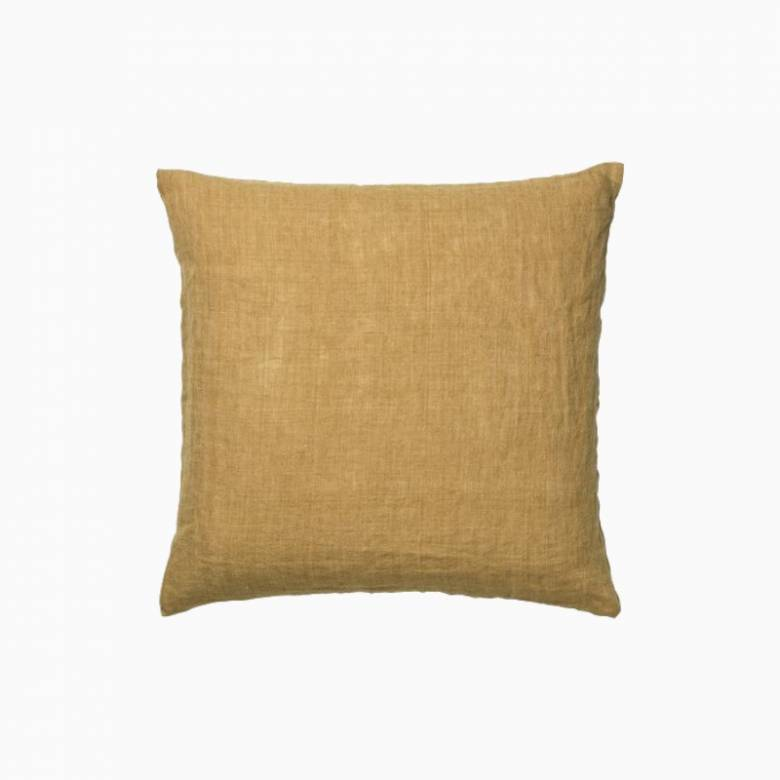 Square Linen Cushion In Curry Yellow