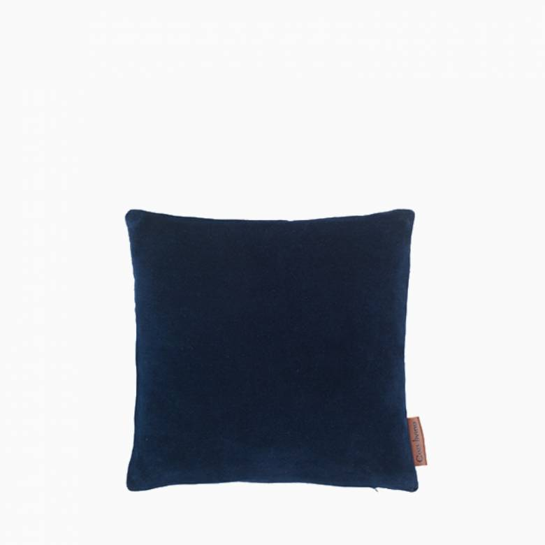 Square Mini Velvet Cushion In Midnight Blue