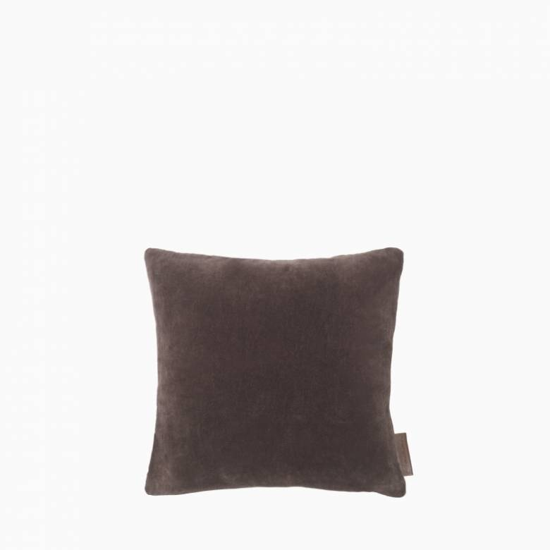 Square Mini Velvet Cushion In Raisin