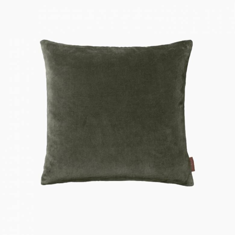 Square Soft Velvet Cushion In Army
