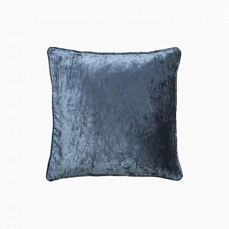Square Velvet Cushion In Ocean Blue