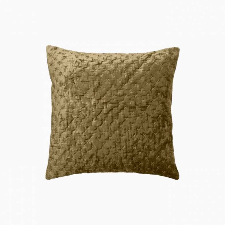 Square Velvet Embroidered Cushion In Mustard