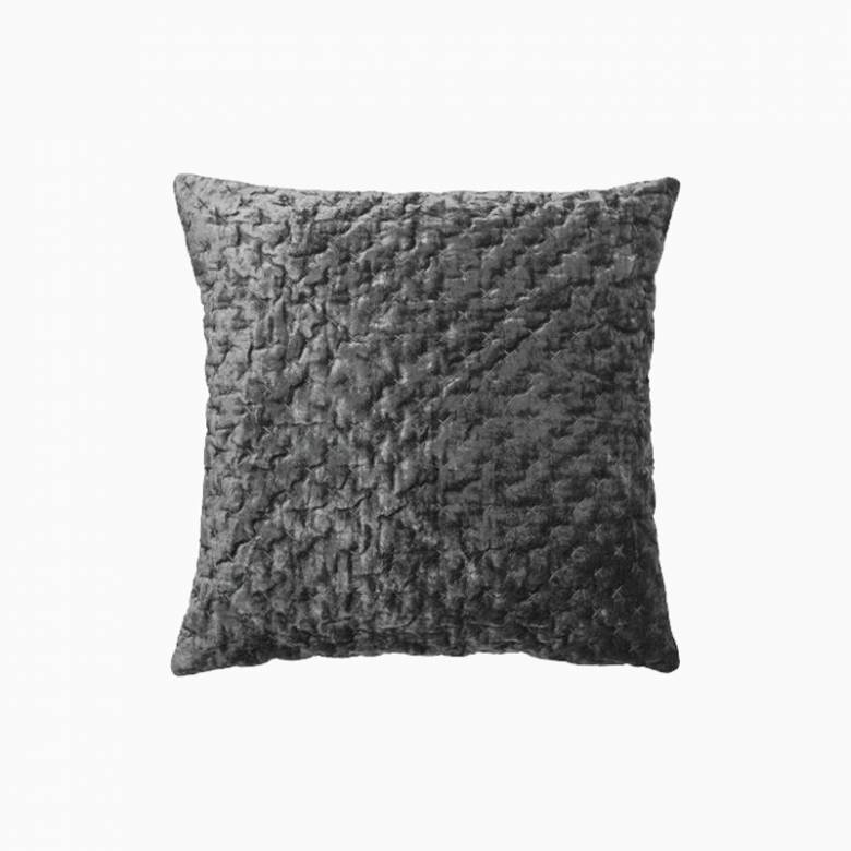 Square Velvet Embroidered Cushion In Steel