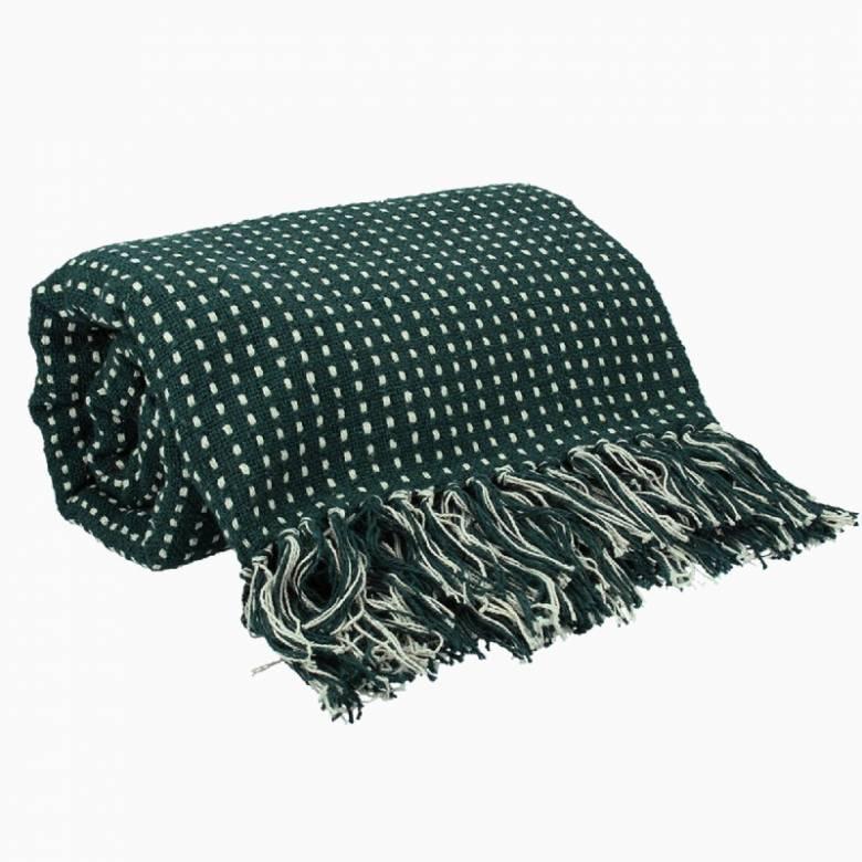 Stab Stitch Cotton Blanket In Dark Green