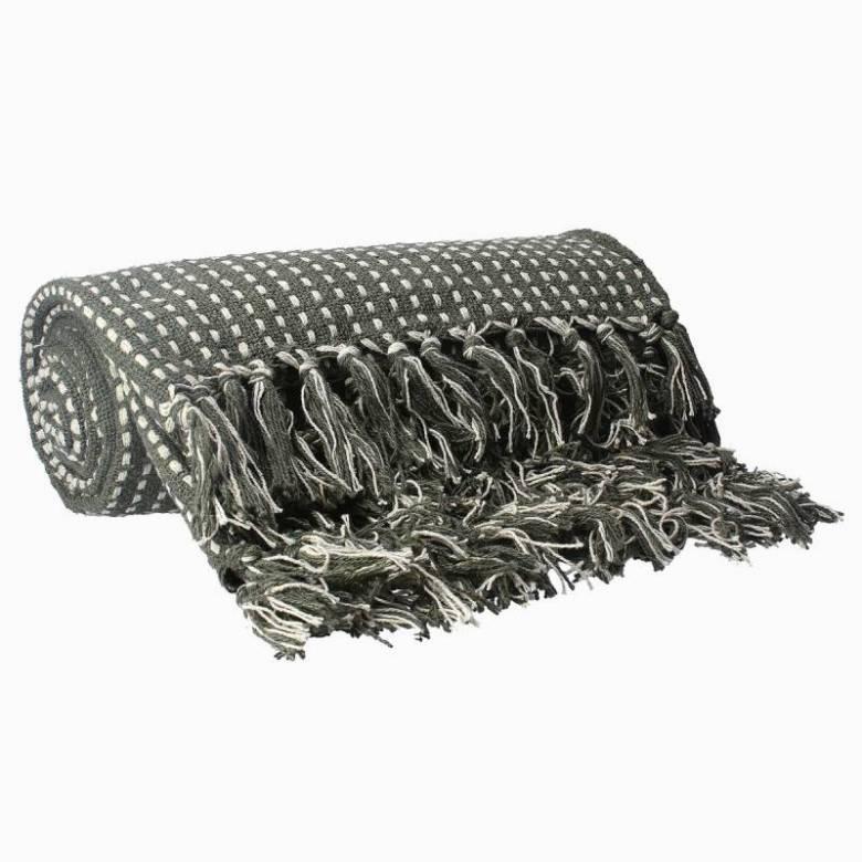 Stab Stitch Cotton Blanket In Khaki