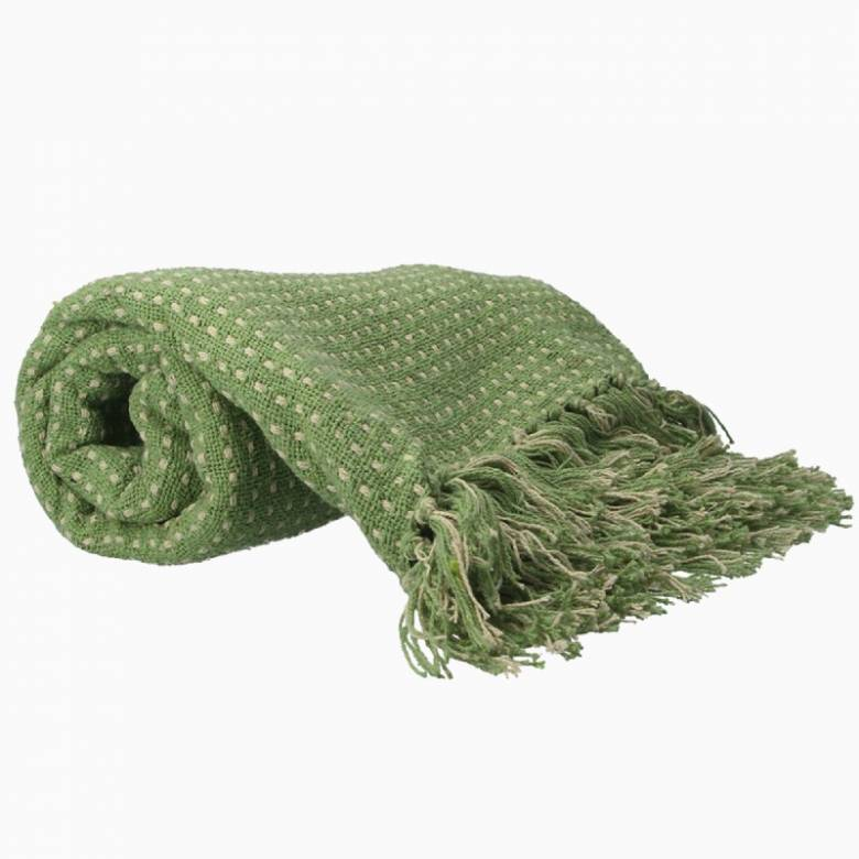 Stab Stitch Cotton Blanket In Light Green