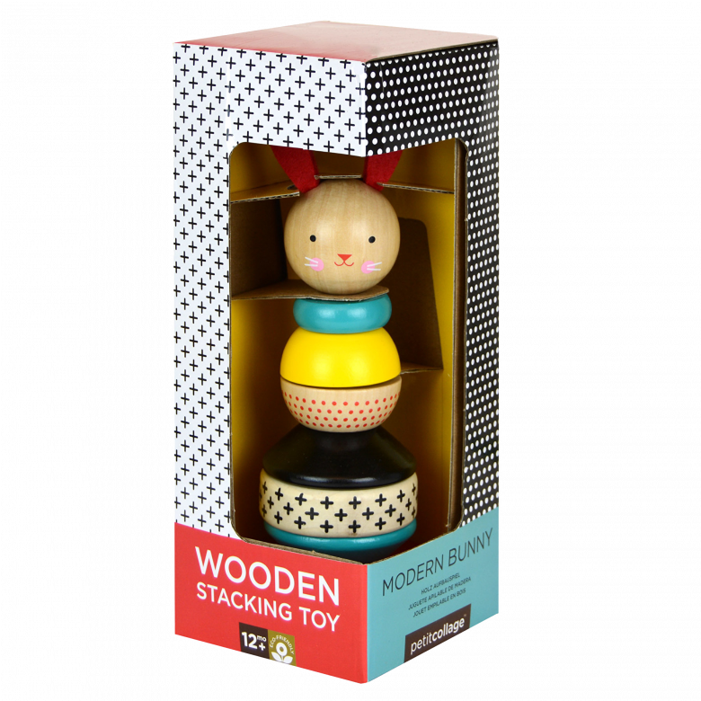 Modern Bunny Rabbit Wooden Stacking Toy 1+ By Petit Collage