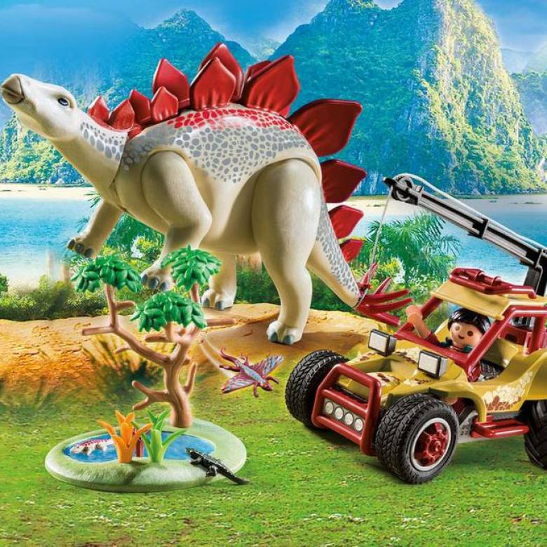 Explorer Vehicle With Stegosaurus Playmobil Dinosaurs 9432