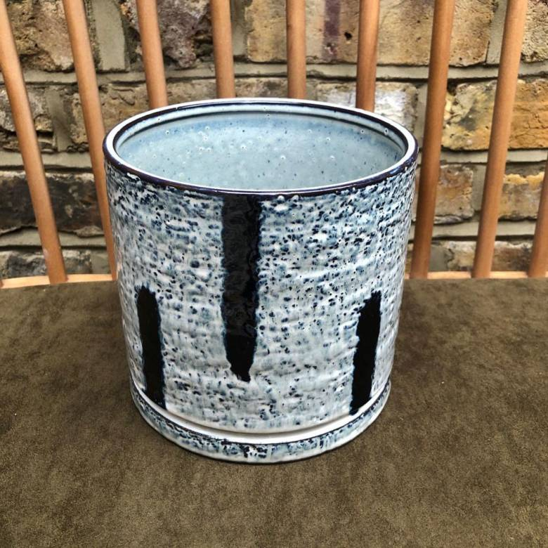 Stoneware Flower Pot Hand Glazed Blue White with Blue Stripes