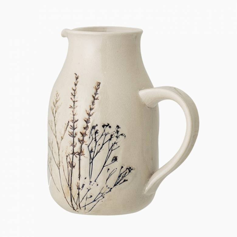Stoneware Jug With Plant Imprint