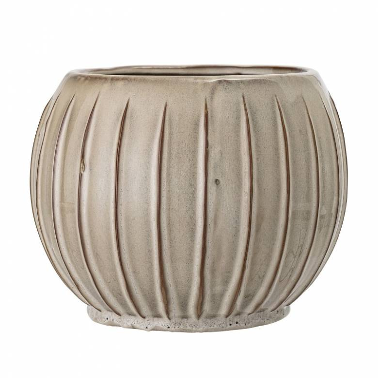 Striped Beige & Brown Curved Flower Pot