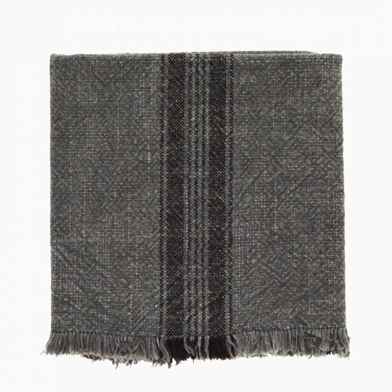Striped Cotton Tea Towel With Fringing In Grey
