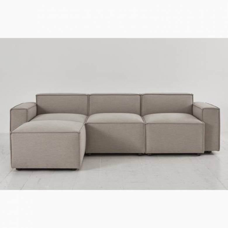 Swyft Model 03 - 3 Seater Sofa Left Chaise - Linen Pumice