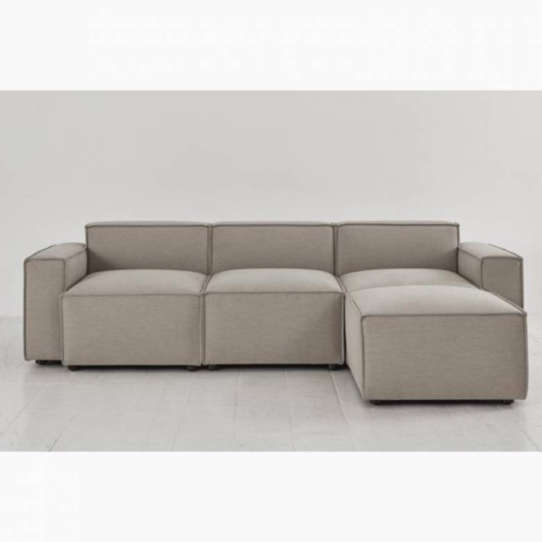 Swyft - Model 03 - 3 Seater Sofa - Right Chaise - Linen Pumice