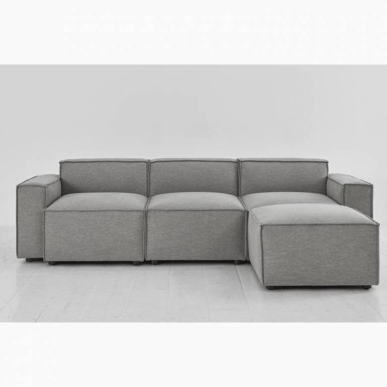 Swyft - Model 03 - 3 Seater Sofa - Right Chaise - Linen Shadow