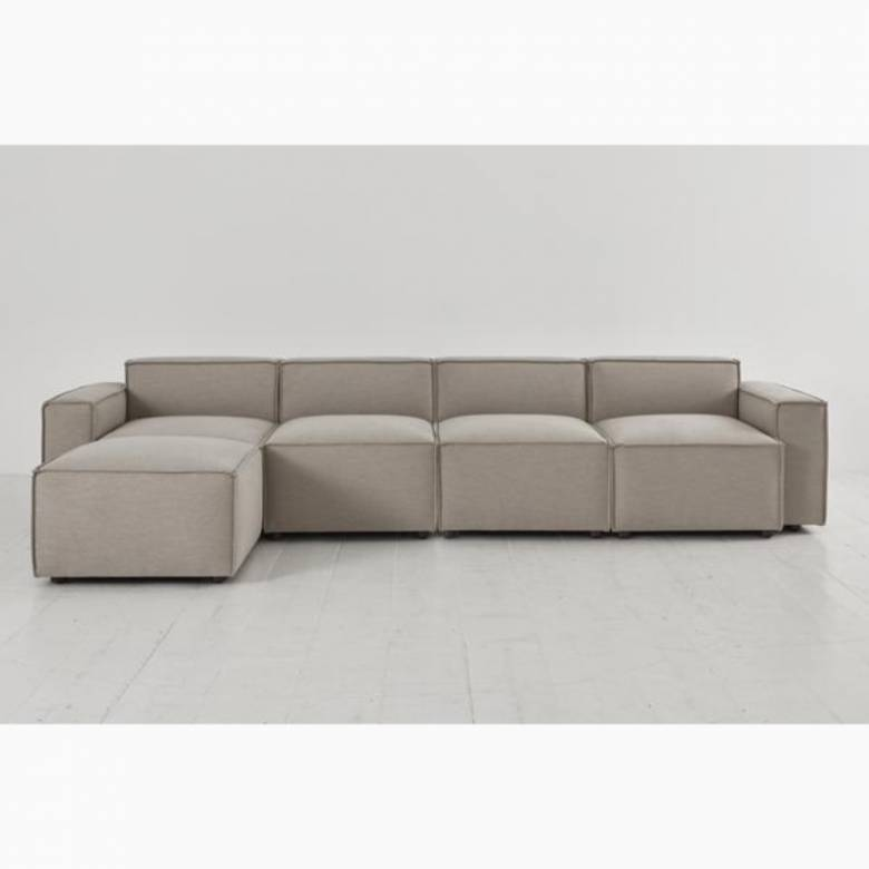 Swyft - Model 03 - 4 Seater Sofa - Left Chaise - Linen Pumice