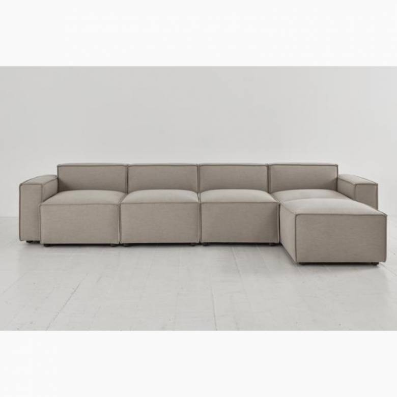 Swyft - Model 03 - 4 Seater Sofa - Right Chaise - Linen Pumice