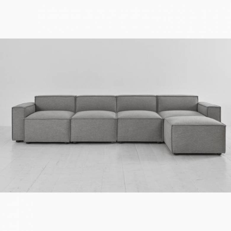 Swyft - Model 03 - 4 Seater Sofa - Right Chaise - Linen Shadow