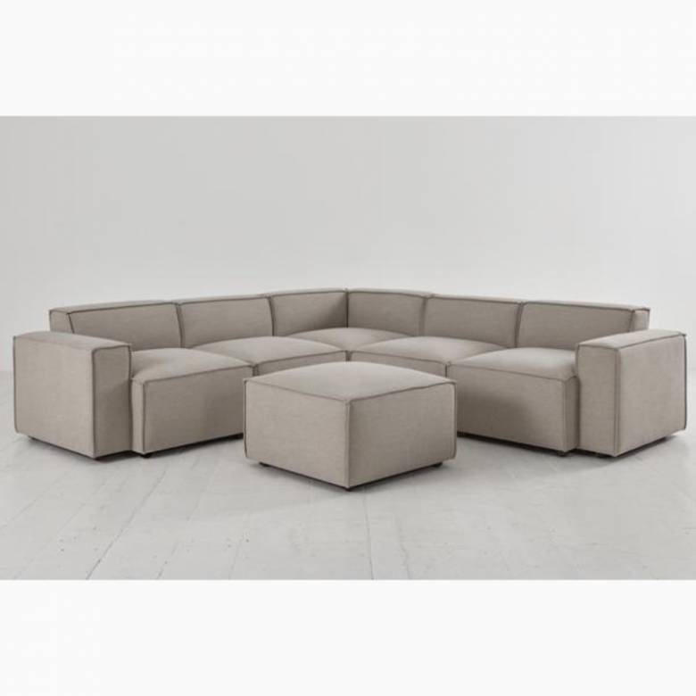 Swyft - Model 03 - Corner Sofa With Ottoman - Linen Pumice