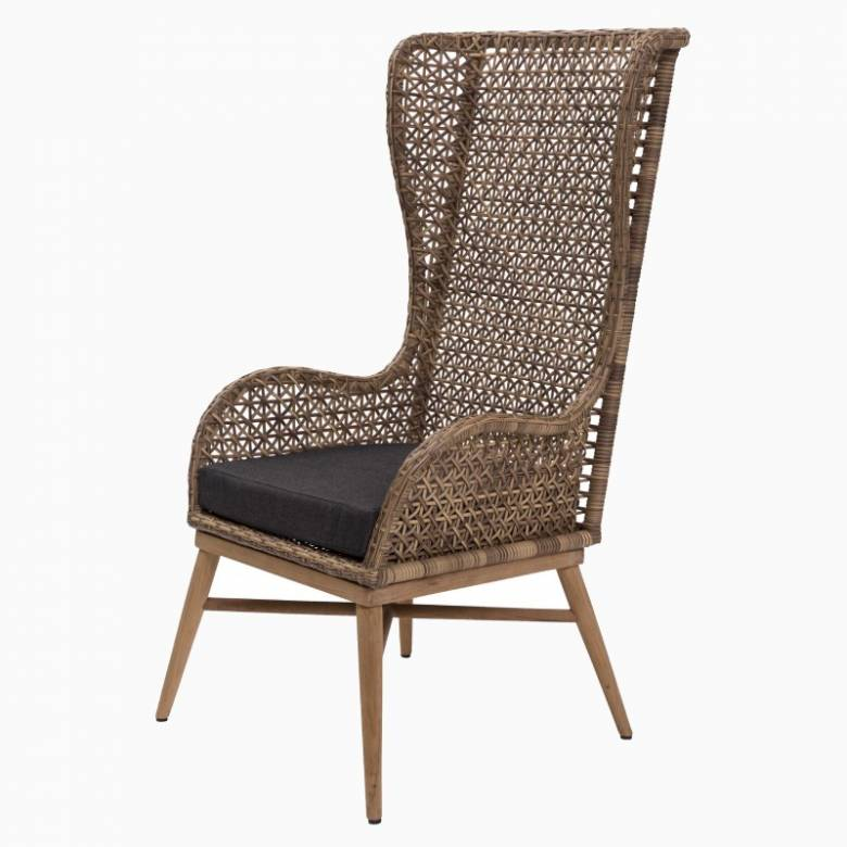 Tall High Back Woven Armchair With Seat Pad