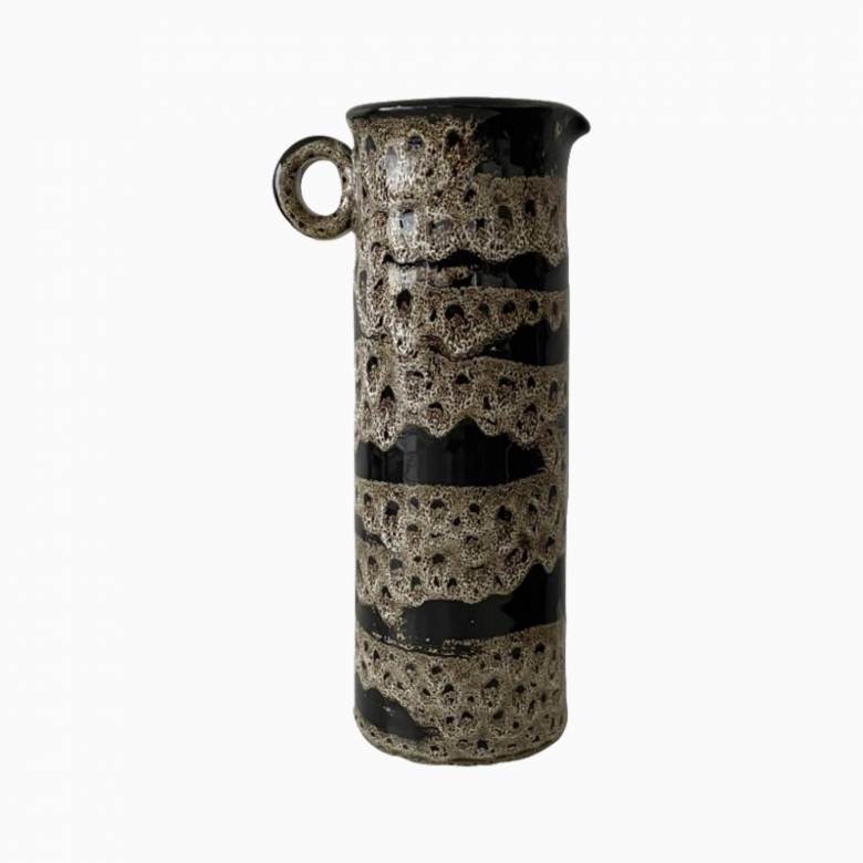 Tall Mottled Black And Brown Glossy Vase With Handle H: 32.5cm