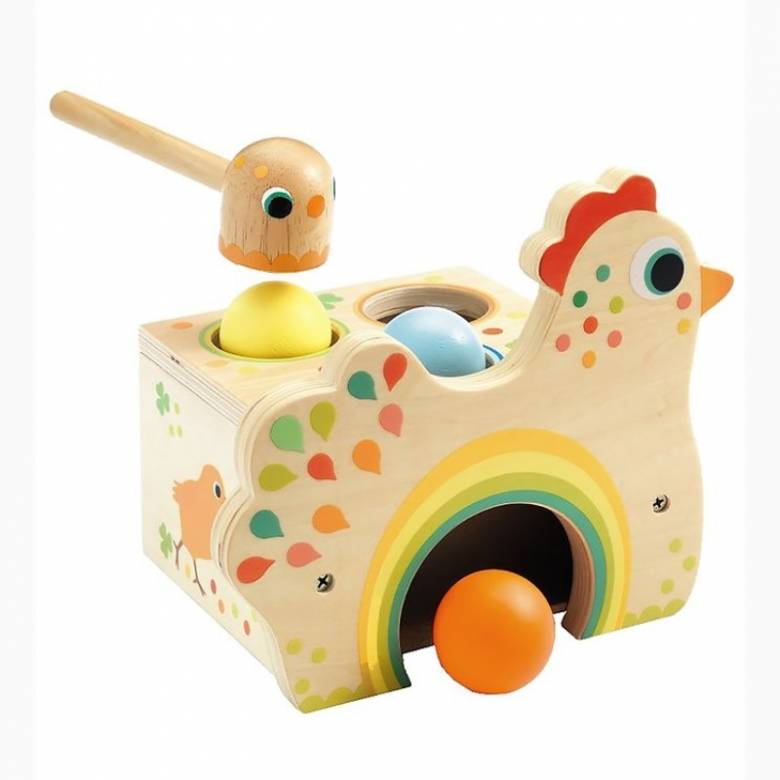Tapatou Wooden Chicken Hammer Toy By Djeco 18m+