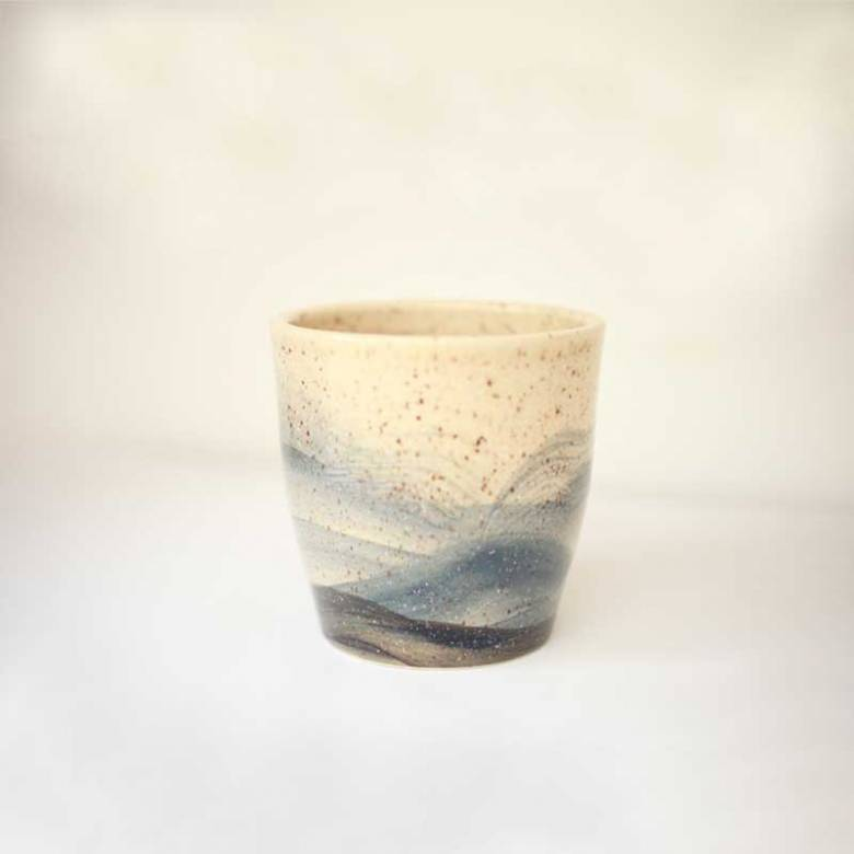 Tapered Hand Painted Blue & Beige Speckled Wave Plant Pot