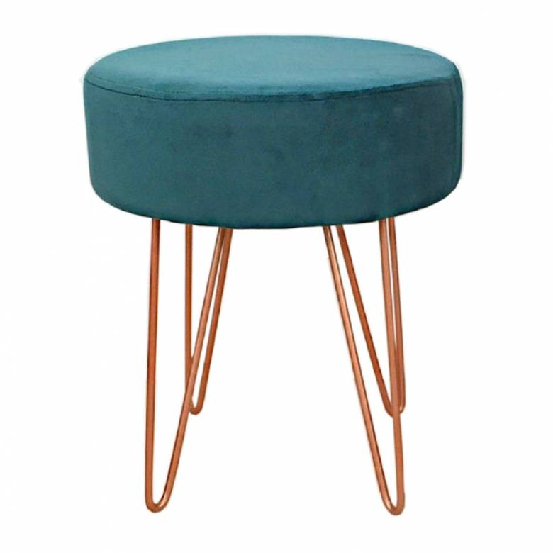 Teal Velvet Circular Stool With Copper Hairpin Legs